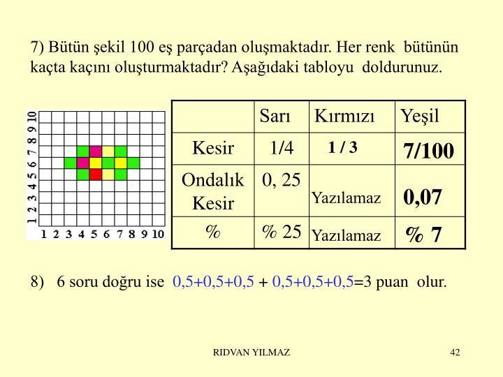 7) Bütün şekil 100 eş parçadan oluşmaktadır. Her renk  bütünün kaçta kaçını oluşturmaktadır? Aşağıdaki tabloyu  doldurunuz.