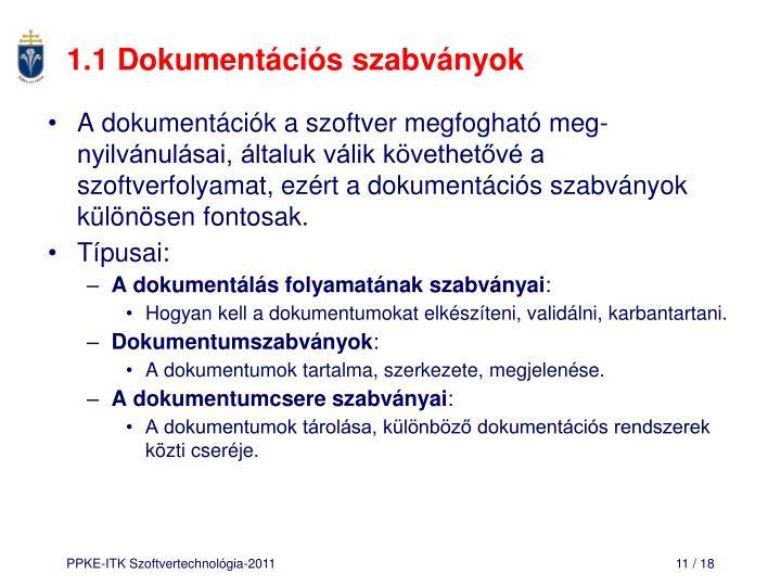1.1 Dokumentációs szabványok