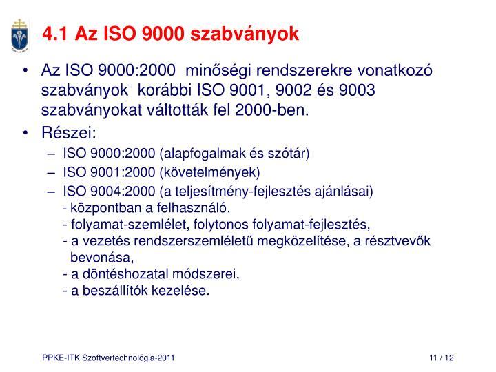 4.1 Az ISO 9000 szabványok