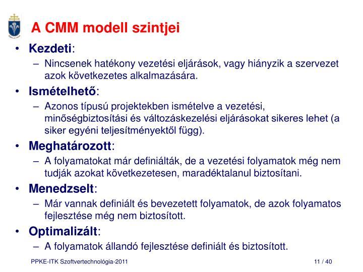A CMM modell szintjei