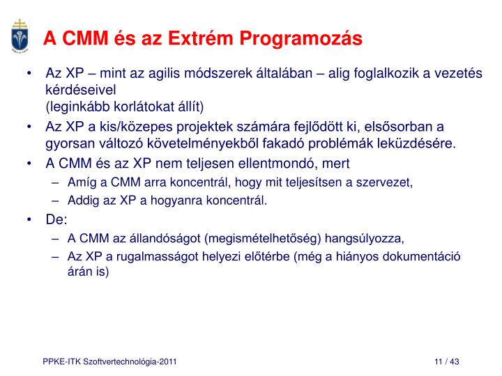 A CMM és az Extrém Programozás