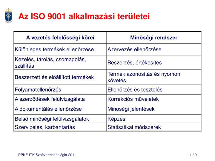 Az ISO 9001 alkalmazási területei