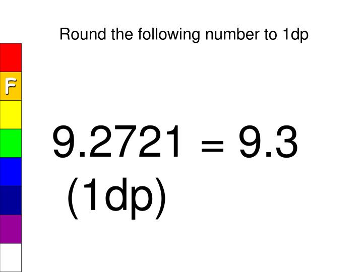 Round the following number to 1dp
