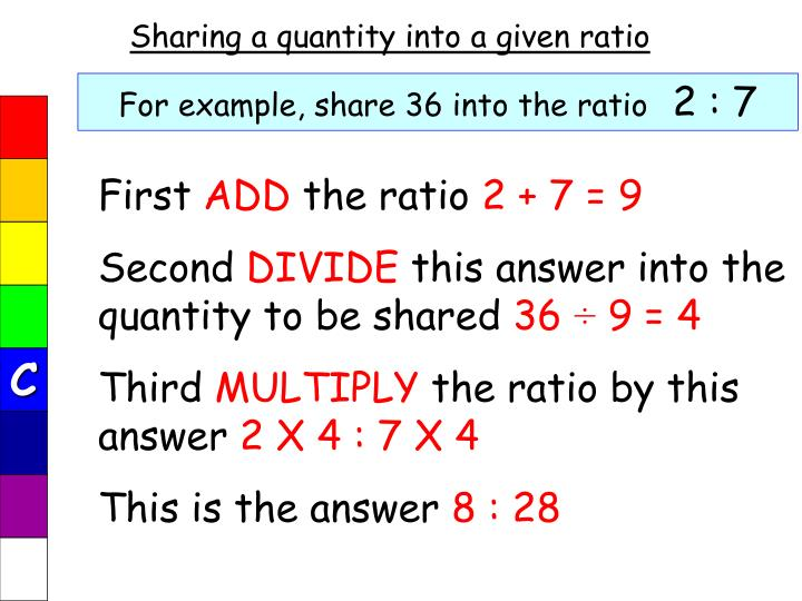Sharing a quantity into a given ratio