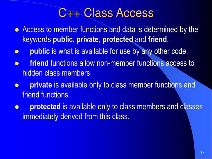 C++ Class Access