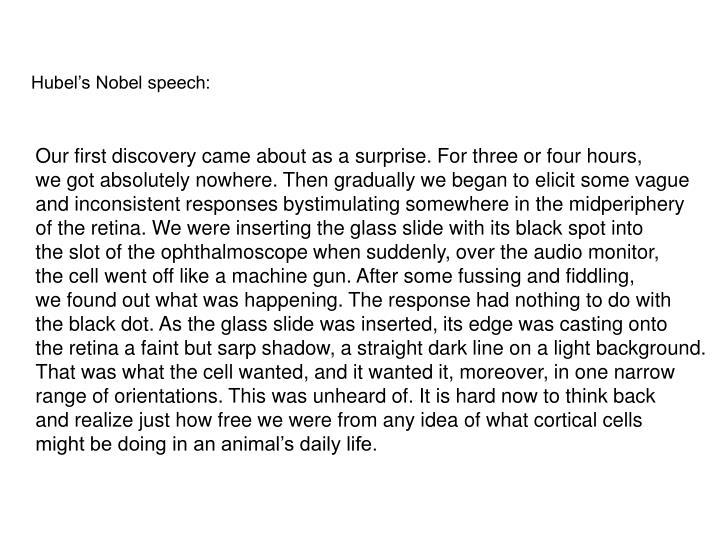 Hubel's Nobel speech:
