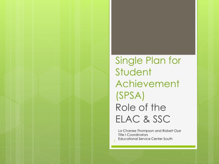 Single plan for student achievement spsa