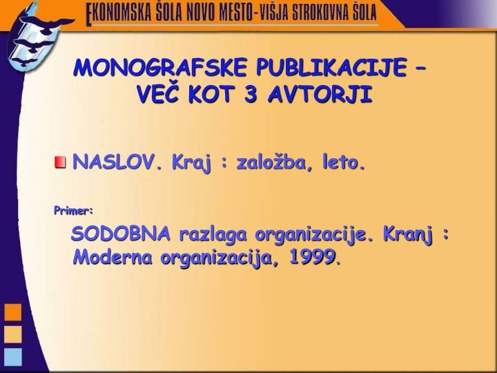 MONOGRAFSKE PUBLIKACIJE –
