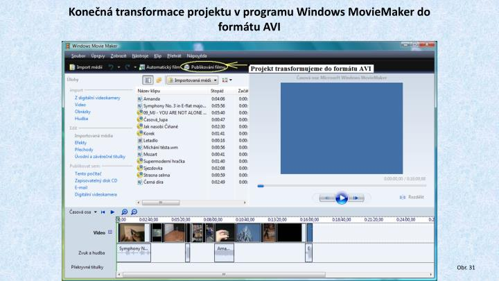 Konečná transformace projektu v programu Windows