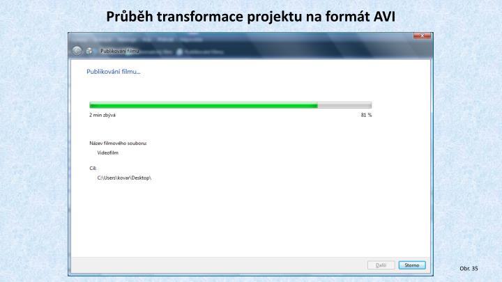 Průběh transformace projektu na formát AVI