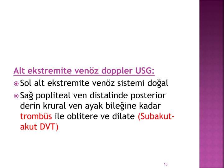 Alt ekstremite venöz doppler USG: