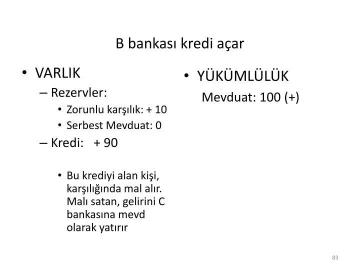 B bankası kredi açar