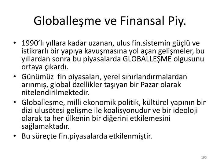 Globalleşme ve Finansal
