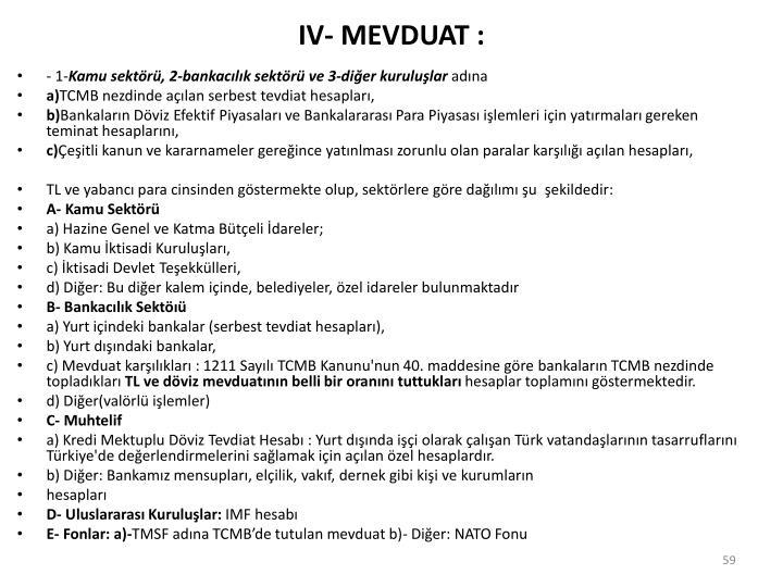 IV- MEVDUAT :