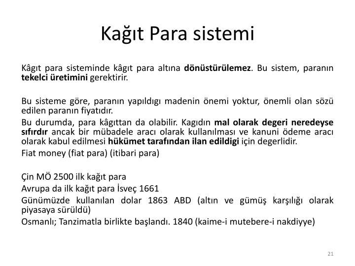 Kağıt Para sistemi