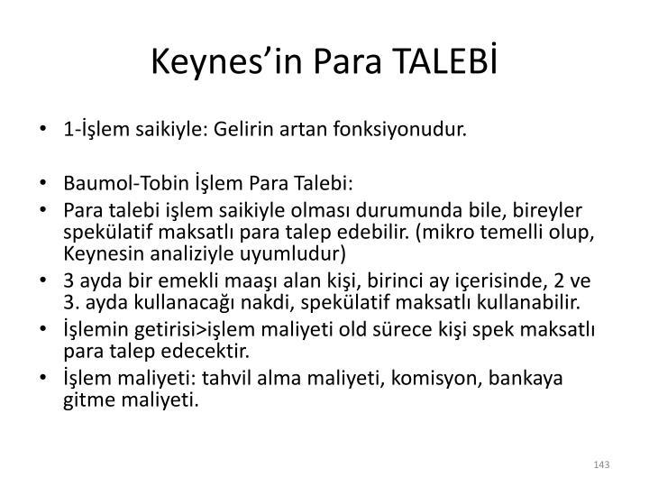 Keynes'in Para TALEBİ
