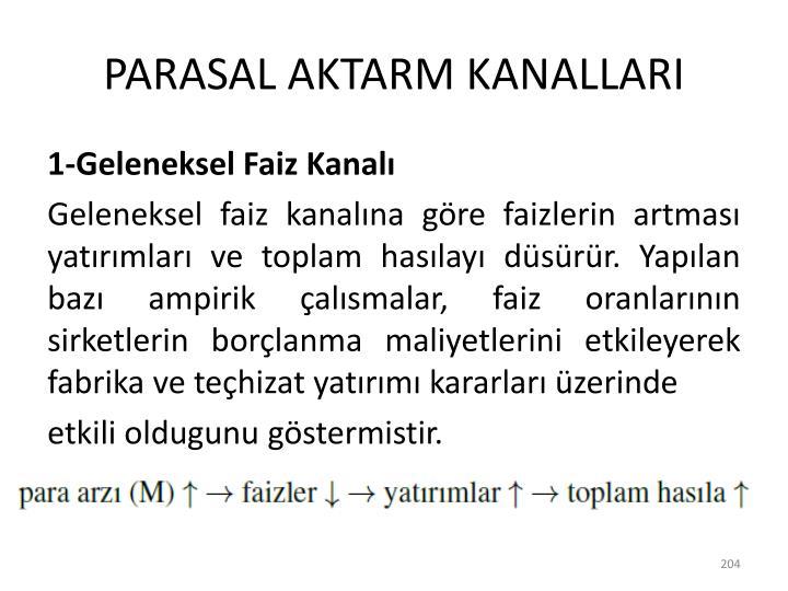 PARASAL AKTARM KANALLARI