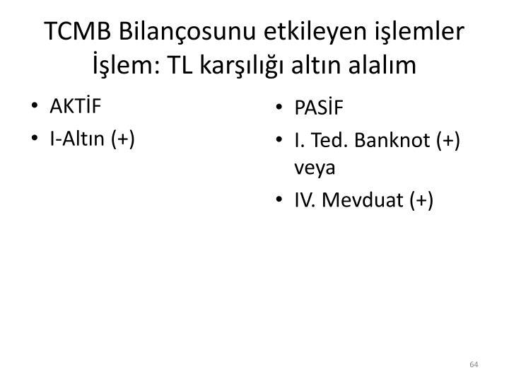 TCMB Bilançosunu etkileyen işlemler