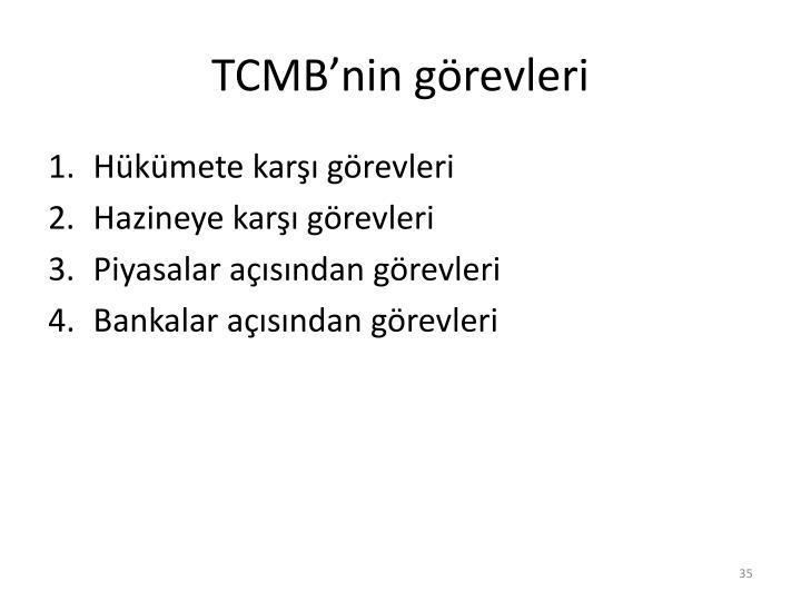 TCMB'nin görevleri