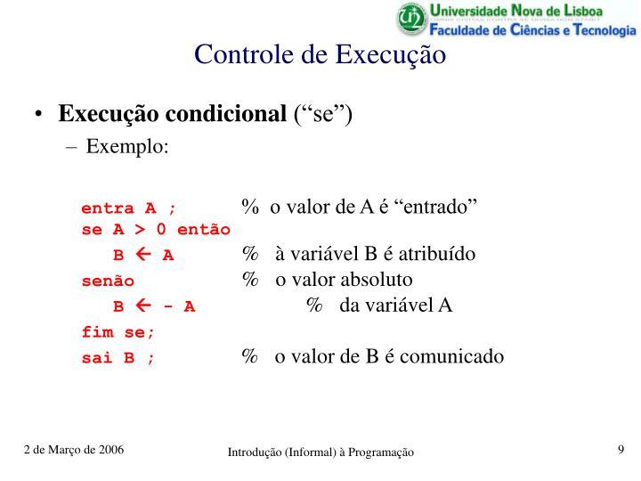 Controle de Execução
