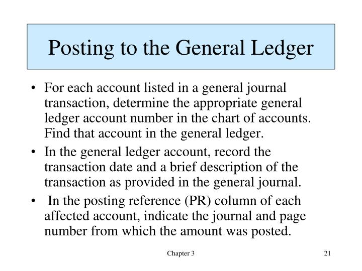 Posting to the General Ledger