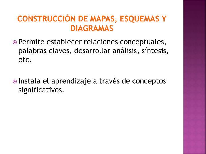 CONSTRUCCIÓN DE MAPAS, ESQUEMAS Y DIAGRAMAS