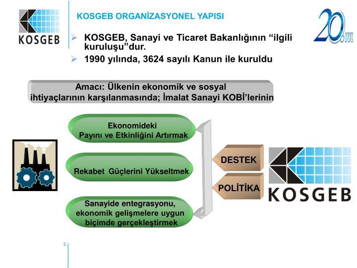 KOSGEB ORGANİZASYONEL YAPISI