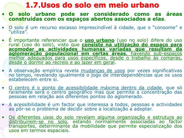 1.7.Usos do solo em meio urbano