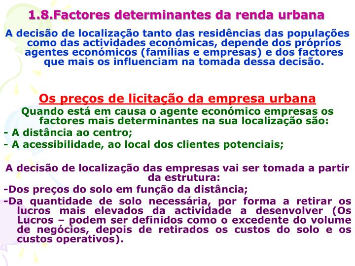 1.8.Factores determinantes da renda urbana