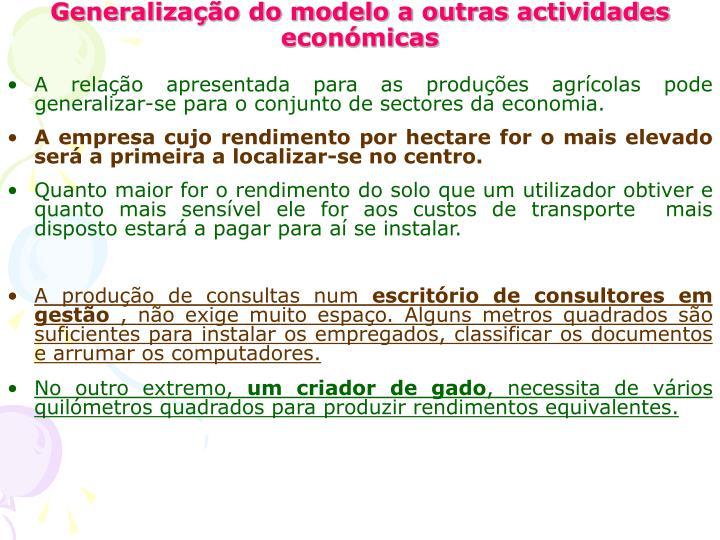 Generalização do modelo a outras actividades económicas
