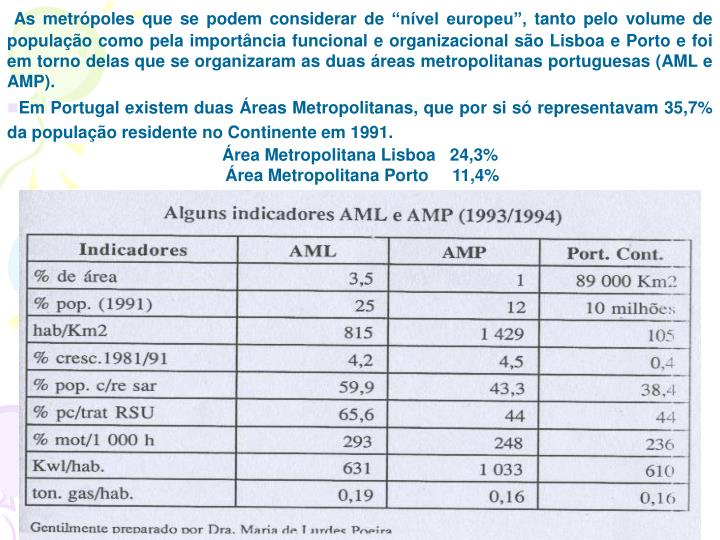 """As metrópoles que se podem considerar de """"nível europeu"""", tanto pelo volume de população como pela importância funcional e organizacional são Lisboa e Porto e foi em torno delas que se organizaram as duas áreas metropolitanas portuguesas (AML e AMP)."""