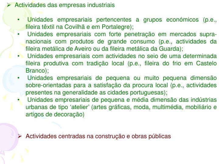 Actividades das empresas industriais
