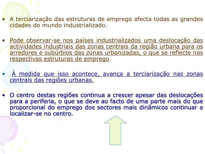 A terciarização das estruturas de emprego afecta todas as grandes cidades do mundo industrializado.