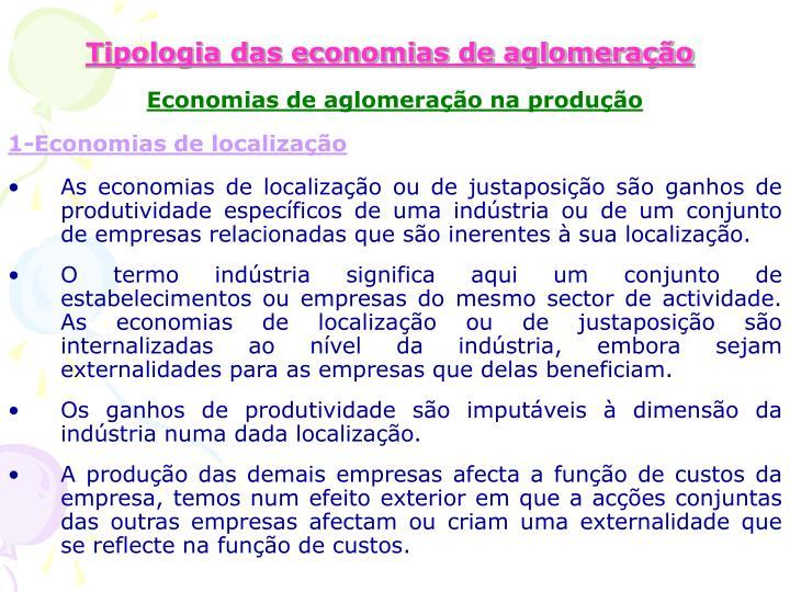 Tipologia das economias de aglomeração