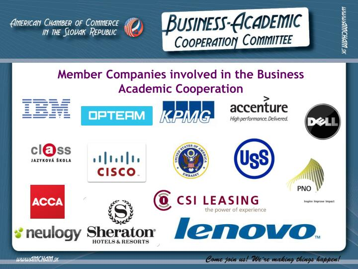 Member Companies involved in the Business Academic Cooperation