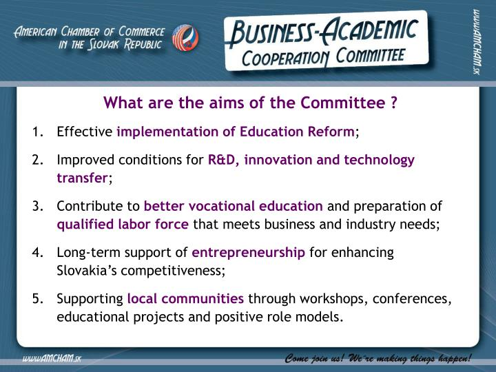What are the aims of the Committee ?