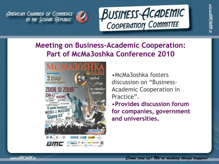 Meeting on Business-Academic Cooperation: