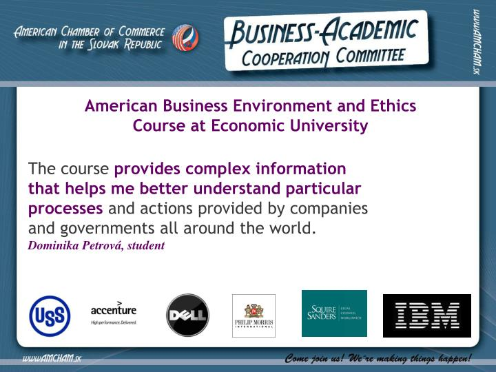 American Business Environment and Ethics Course at Economic University