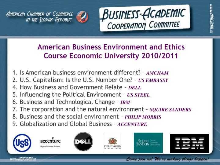 American Business Environment and Ethics Course Economic University 2010/2011