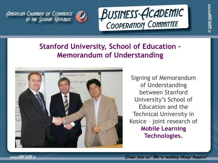 Stanford University, School of Education – Memorandum of Understanding