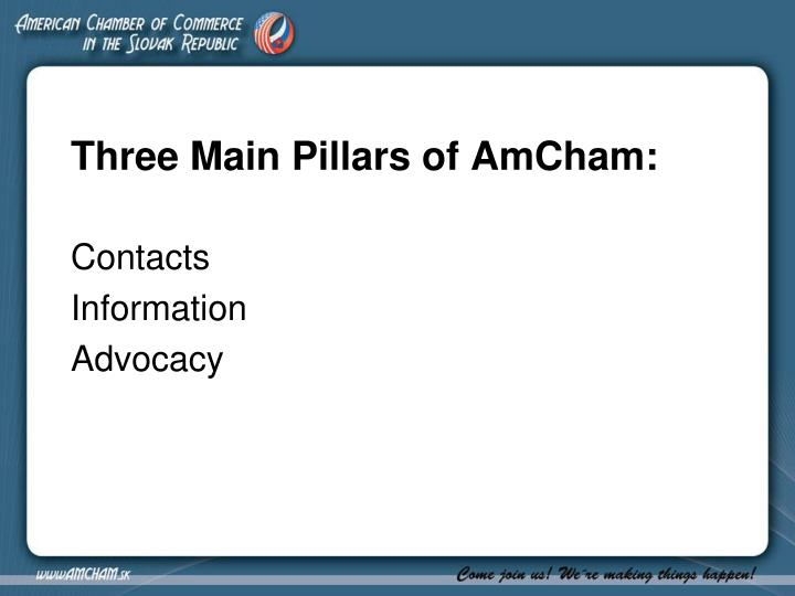 Three Main Pillars of AmCham: