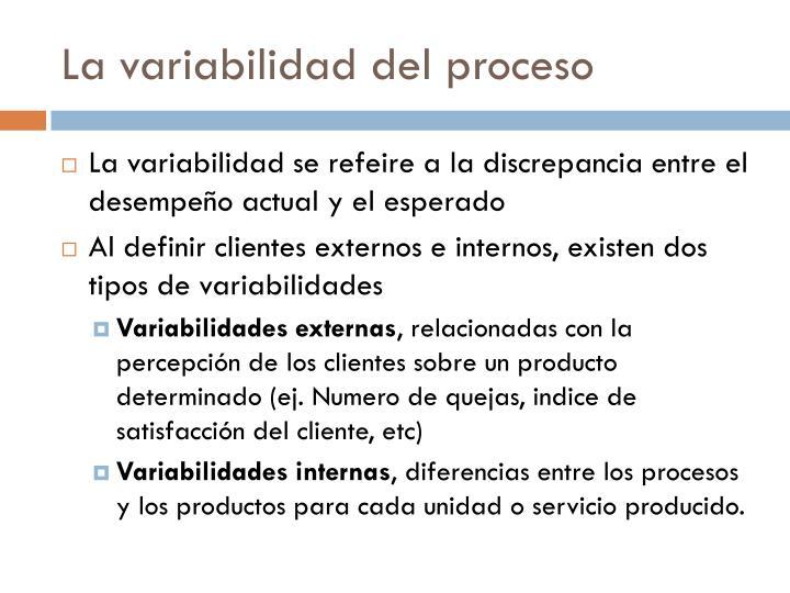 La variabilidad del proceso
