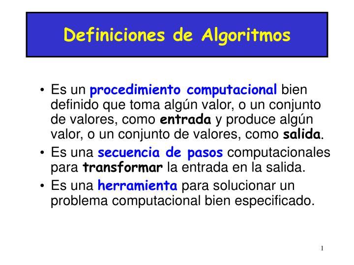 Definiciones de Algoritmos