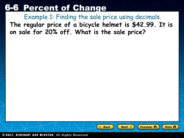 Example 1: Finding the sale price using decimals.