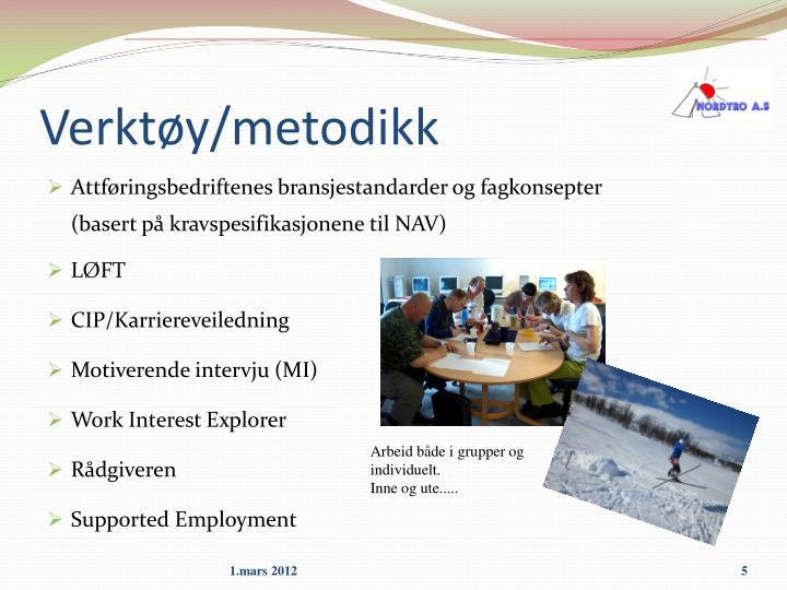 Verktøy/metodikk