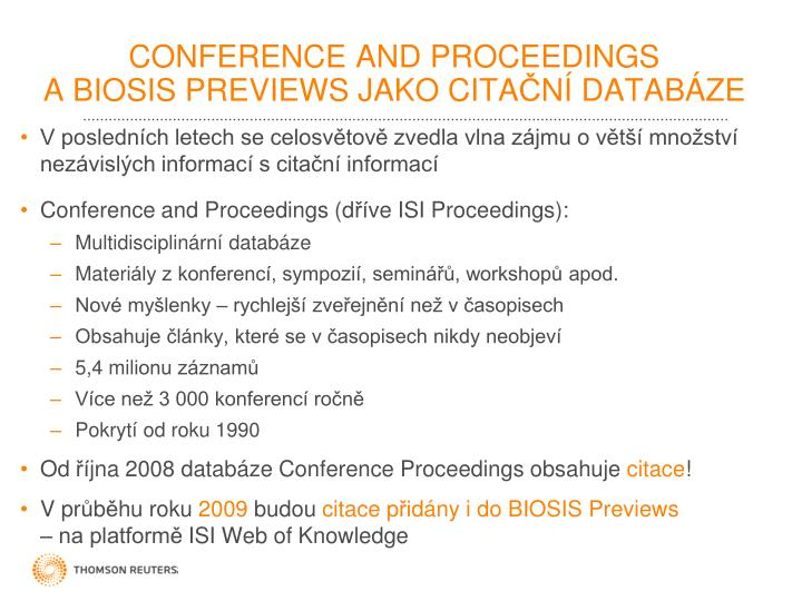 CONFERENCE AND PROCEEDINGS
