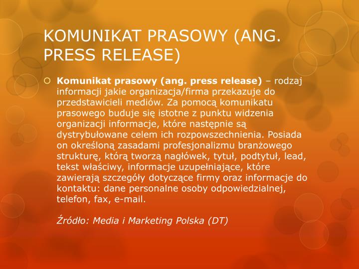 Komunikat prasowy ang press release