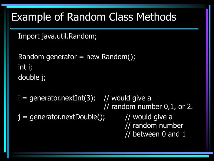Example of Random Class Methods