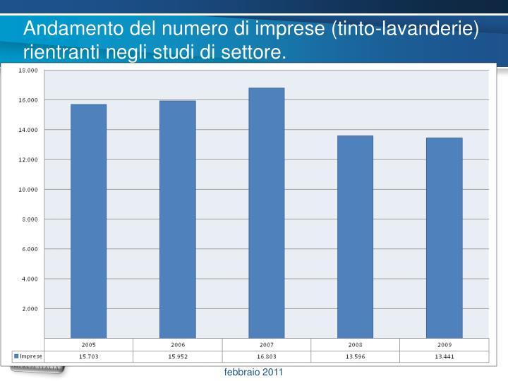 Andamento del numero di imprese (tinto-lavanderie) rientranti negli studi di settore.