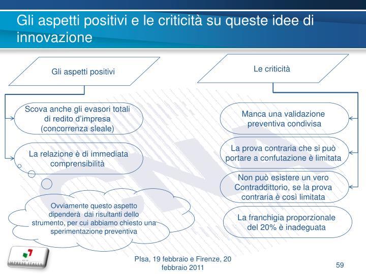 Gli aspetti positivi e le criticità su queste idee di innovazione